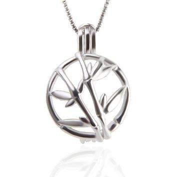 925 Sterling Silver Bamboo Hollow Silver Pearl Cage Pendant