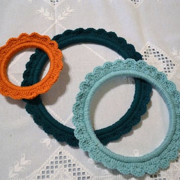 Crochet Embroidery Hoop Teal Aqua Burnt Orange Set of 3 Shabby Cottage  Style Decor Upcycle Recycle Littlestsister