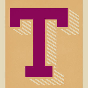 The Letter T, Too - Original Giclee Art Print, Typography, Alphabet, Monogram, Purple, Gold