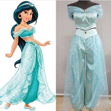 2017 Lamp of Aladdin Princess Jasmine Cosplay Costume Carnaval Halloween Costumes for Women/Kids Adult Costumes Custom Any Size