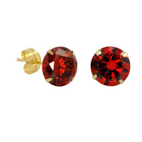 10k Yellow Gold Red Garnet CZ Stud Earrings Cubic Zirconia Round Prong Set