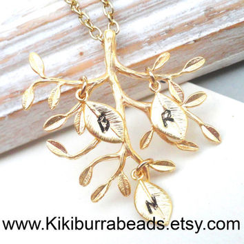 Personalized Necklace - Family Tree Gold  Necklace Custom Necklace