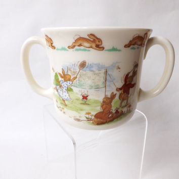 Vintage Christening Cup, Royal Doulton, Bunnykins , Fine Bone China Twin Handled Cup, Tennis Players, Godparent Gift, Baby Shower, Rabbits