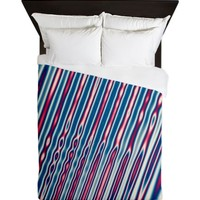Red White and Blue Abstract Stripes Queen Duvet