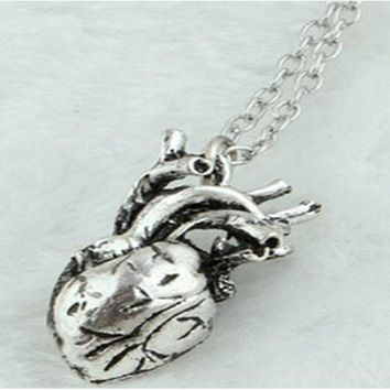 Anatomical Human Hollow Heart Pendant Necklace