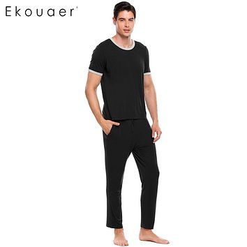 Ekouaer 2017 Casual Sleepwear Mens Short Sleeve Solid Slim Pajamas Contrast Color O-Neck Nightwear Pajamas Set Plus Size