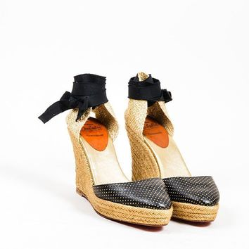 DCCK2 Black and Gold Christian Louboutin Perforated Leather Espadrille Wedges