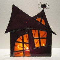 Halloween Spooky Haunted House Stained Glass Lantern 3