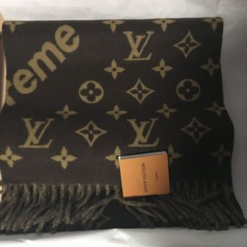 SUPREME X LOUIS VUITTON BROWN MONOGRAM WOOL/CASHMERE SCARF