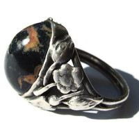 Antique Art Nouveau jasper and sterling silver ring, floral design, Arts and Crafts ring, handmade, early 1900s, tulips and flowers. #38.