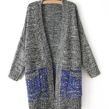 Longline Oversize Pocket Cardigan With Blue Pattern