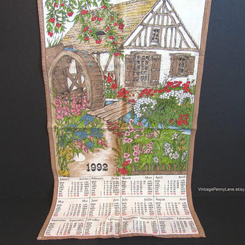 Vintage Printed Cotton Tea Towel, 1992 Calendar, Country Mill Theme