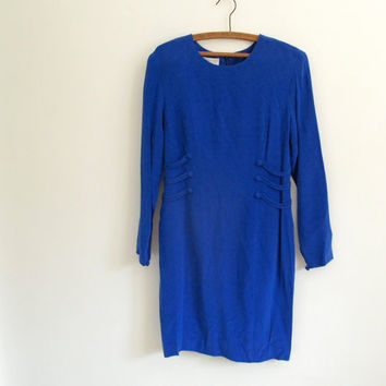 1990s vintage royal blue silk dress - military inspired - long sleeves - deadstock - small / medium