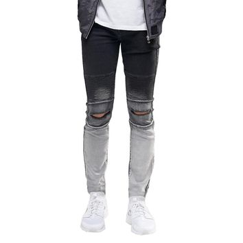 Men's Black to White Fade Jeans