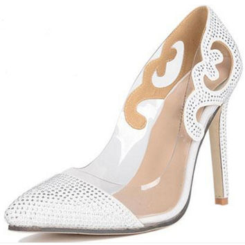 Chrissy Runway Style Clear Glass Film Heels