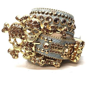 B.B. Simon Gold Skull Pony Crystal Belt