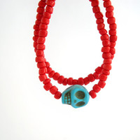 Turquoise skull and red skinny bracelet, summer seed bead stacking bracelet, layering bracelet, set of 2