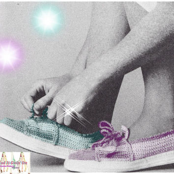 CROCHET PATTERN sneakers Shoes Vintage Pattern PDF Instant Download crochet running shoes epsteam pink crochet patterns vtg walking shoes