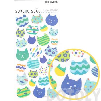 Patterned Kitty Cat Face Silhouette Shaped Stickers for Scrapbooking from Japan