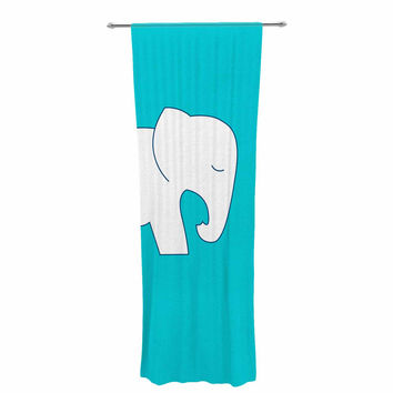 "NL Designs ""Cute Blue White Elephant"" Animals Blue Decorative Sheer Curtain"
