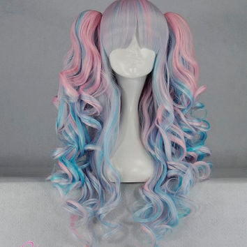 70cm-55cm-Long-Multi-Color-Beautiful-lolita-wig-Anime-Wig Lady gaga style pony tails wigs big wavy hair NLW095