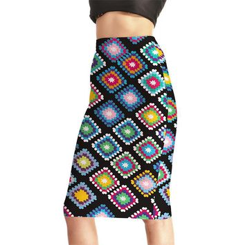 Popular Women Sexy High Waist Midi Skirts Tennis Bowling Skirts Slim Elastic Digital Print New Hot Female Party Apparel S to 4XL