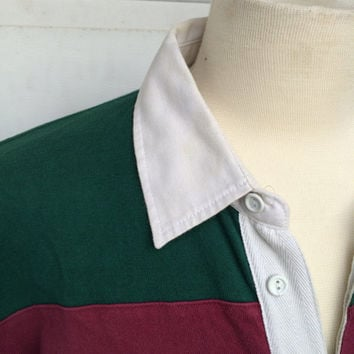 Dark Green and Red Striped Rugby Shirt | 90s Preppy Long Sleeve Shirt  |  XXL Men Big and Tall