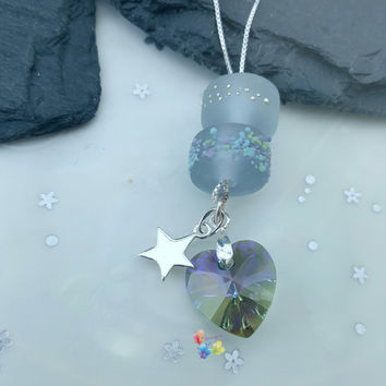Lampwork Charm Necklace Moonlight Paradise, Sterling Silver, soft grey, gift for her, gift for wife, girlfriend, pastel, crystal heart