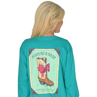 Prep in My Step Long Sleeve Tee in Tropical Green by Lauren James - FINAL SALE
