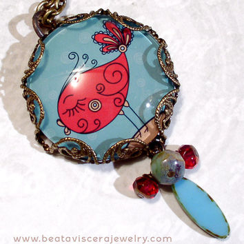 Picture Necklace - Retro Pink and Blue Bird Necklace - Girly Vintage Style Glass Picture Pendant Jewelry