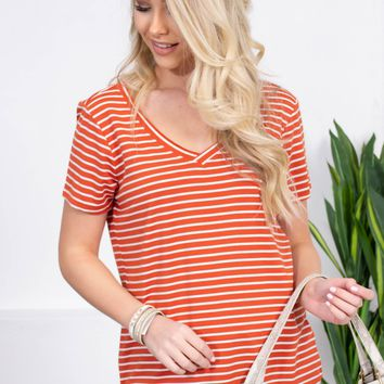 Basic Striped V-Neck Top | Orange