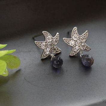 Happy Star Earrings, CZ Earrings, Iolite Earrings, Wedding Jewelry, Spring Weddings, September Birthstone