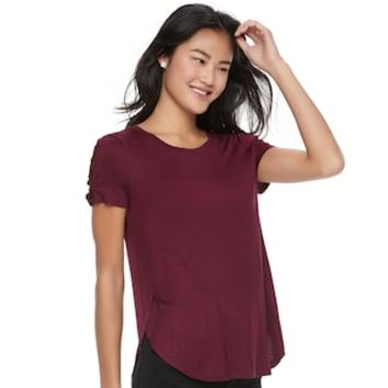 Juniors' Pink Republic Lace-Up Short Sleeve Tee | null