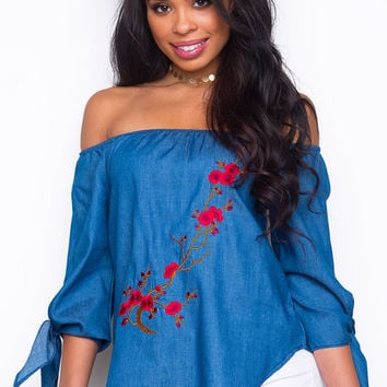 Levi Roses Off The Shoulder Top