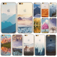 Free Shipping Semi Transparent TPU Soft Case Cover Mountain Design For iPhone 6 WHD1436 16-30