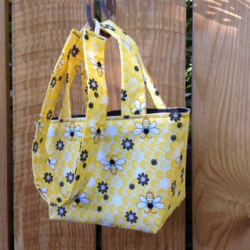 Teeny Tote Bag with Matching Headband Gift Set Honey Bee and Flowers Yellow and Black