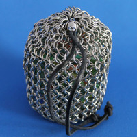 Handcrafted Chainmail Medieval Stainless Steel Bag Pouch with Suede Leather Cord