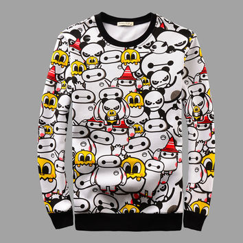 Men's Fashion Cartoons Cats Print Round-neck Pullover Long Sleeve Couple Hoodies [6544260867]