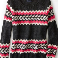 AEO Women's Vivid Patterned Crew Sweater (Pink)