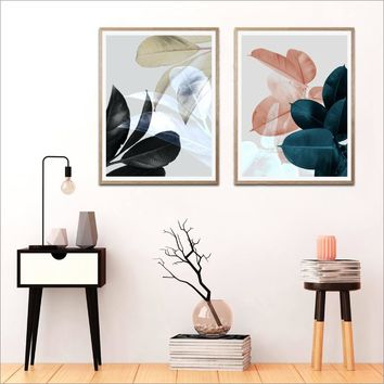 Modern Botanical Poster Black Blue Pink Grey Tropical Leaves Canvas Art Prints Wall Picture For Living Room Tropical Wall Decor
