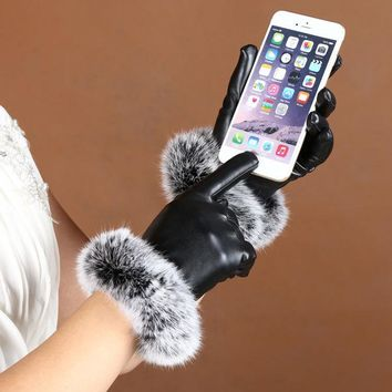 New Ladies Winter Finger Gloves 1Pair Touch Screen Winter Warm Gloves Leather Imitation Rabbit Hair PU Leather