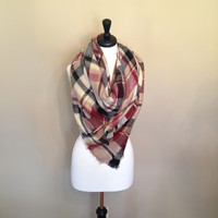 Plaid Tartan Blanket Scarf by KnitPopShop