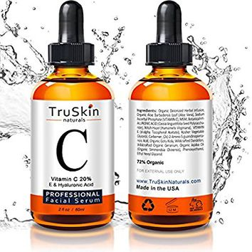 The BEST ORGANIC Vitamin C Serum - [BIG 2-OZ Bottle] - Hyaluronic Acid, 20% C + E Professional Topical Facial Skin Care to Repair Sun Damage, Fade Age Spots, Dark Circles, Wrinkles & Fine Lines -2 oz