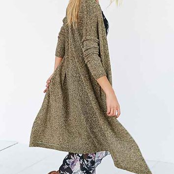 Silence + Noise Open-Front Maxi Cardigan- Green
