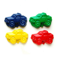Monster Truck Party Favors - Reshaped Recycled Crayons - Package of 12 Truck Color Crayons