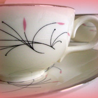 Vintage Mid Century Homer Laughlin Rhythm Capri Pattern Cups and Saucers 1950's Pink and Black