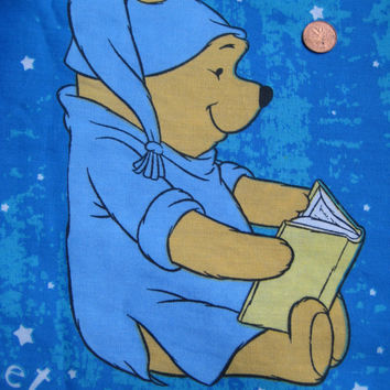 Winnie the Pooh Disney TWIN Size Blue Bedding Flat Sheet Craft Fabric NEW