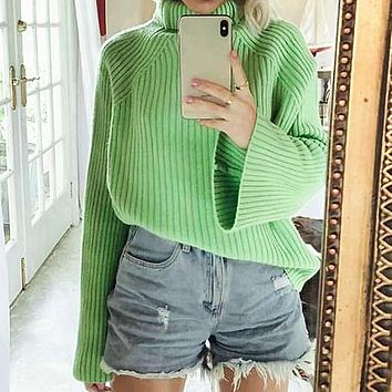 High Fashion Elegant Turtle Sweater Women Solid Loose Long Ladies Sweater Knitted Sweaters