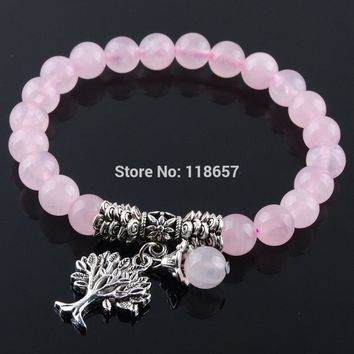 YOWOST Natural Rose Quartzs Gem Stone Bracelet Mala Beads Tree Of Life Charms Meditation Ethnic For Women Jewelry IK3219