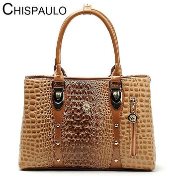 Women Bag 2016 Bag Handbags Women Famous Brands Luxury Designer Handbag High Quality Crocodile Leather Tote Hand Bag Ladies B051